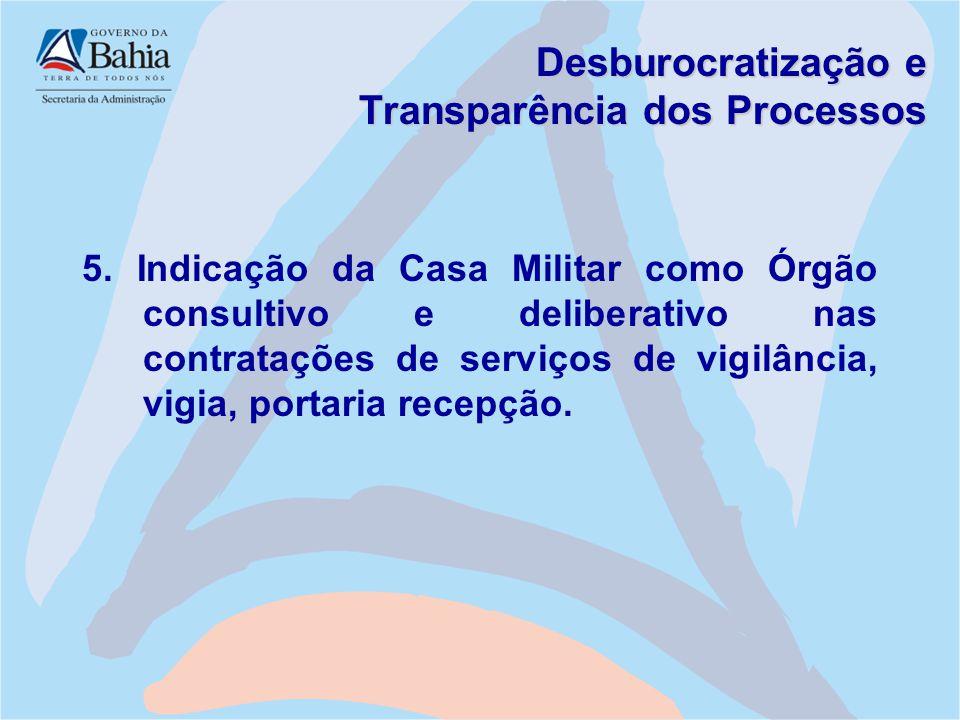 Desburocratização e Transparência dos Processos 5. Indicação da Casa Militar como Órgão consultivo e deliberativo nas contratações de serviços de vigi