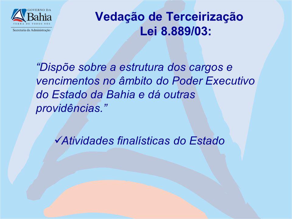 """Vedação de Terceirização Lei 8.889/03: """"Dispõe sobre a estrutura dos cargos e vencimentos no âmbito do Poder Executivo do Estado da Bahia e dá outras"""
