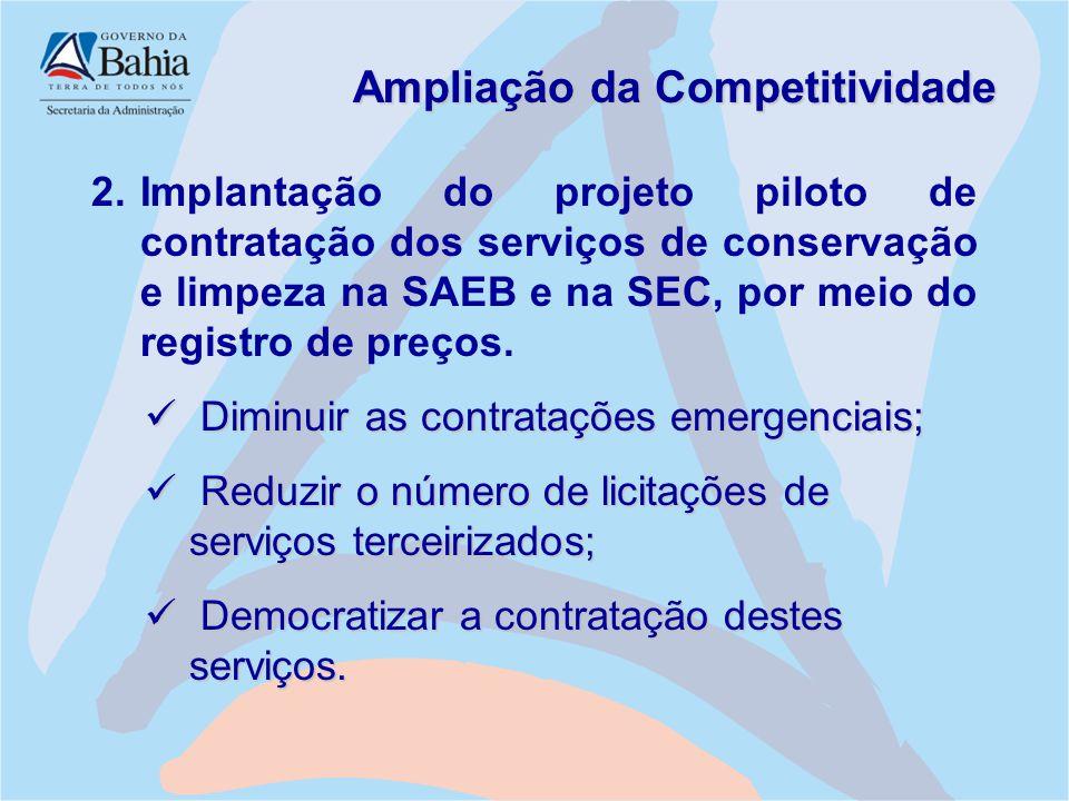 Ampliação da Competitividade 2.Implantação do projeto piloto de contratação dos serviços de conservação e limpeza na SAEB e na SEC, por meio do regist