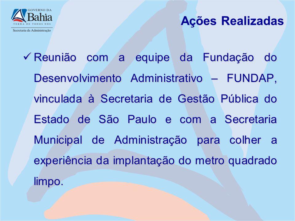 Ações Realizadas Reunião com a equipe da Fundação do Desenvolvimento Administrativo – FUNDAP, vinculada à Secretaria de Gestão Pública do Estado de Sã