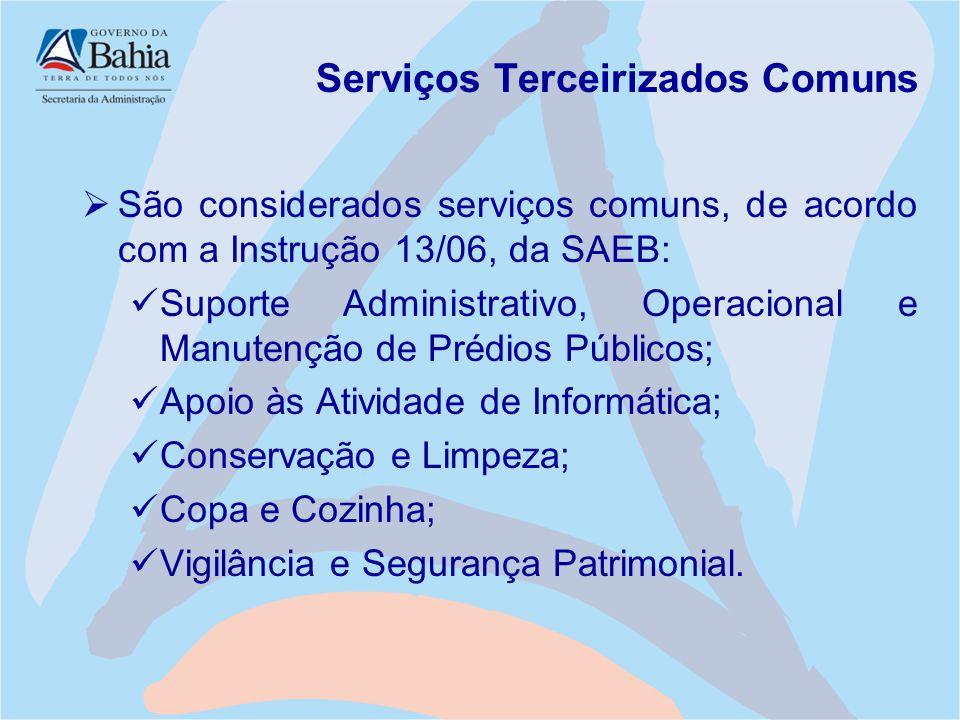Serviços Terceirizados Comuns  São considerados serviços comuns, de acordo com a Instrução 13/06, da SAEB: Suporte Administrativo, Operacional e Manu