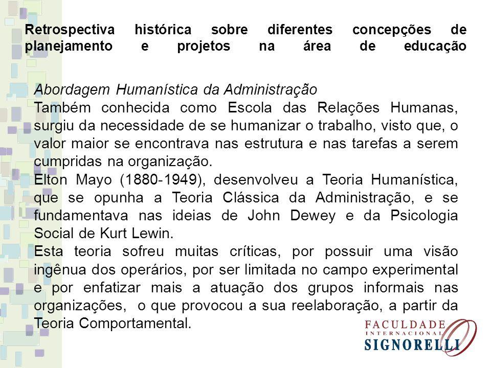 Retrospectiva histórica sobre diferentes concepções de planejamento e projetos na área de educação Abordagem Humanística da Administração Também conhe