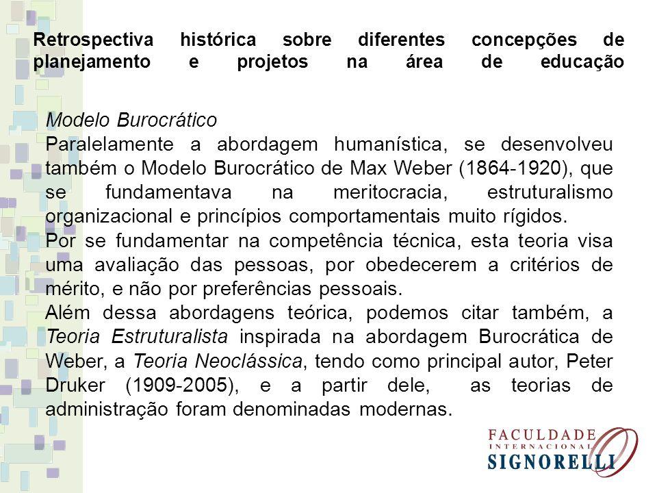 Retrospectiva histórica sobre diferentes concepções de planejamento e projetos na área de educação Modelo Burocrático Paralelamente a abordagem humaní