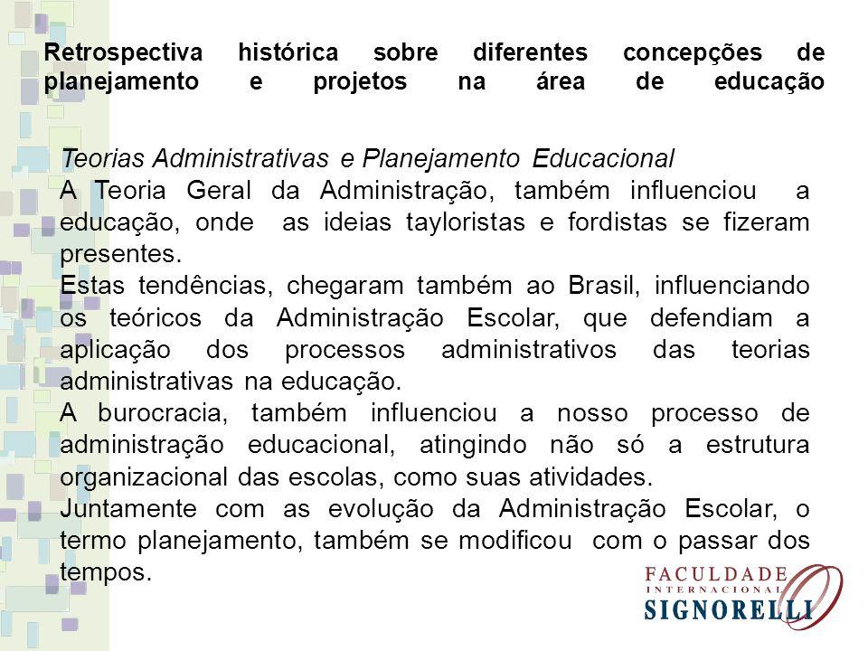 Retrospectiva histórica sobre diferentes concepções de planejamento e projetos na área de educação Teorias Administrativas e Planejamento Educacional