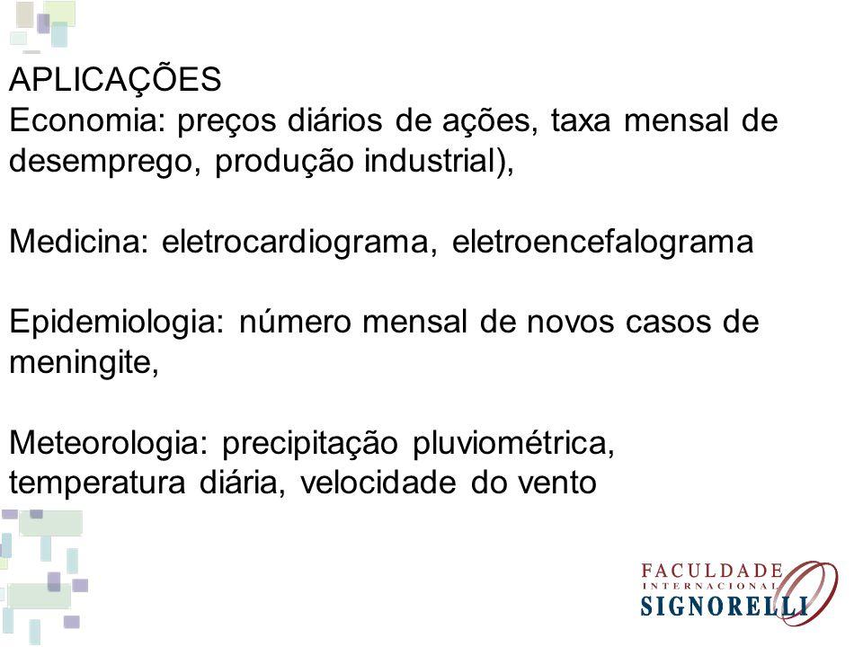 APLICAÇÕES Economia: preços diários de ações, taxa mensal de desemprego, produção industrial), Medicina: eletrocardiograma, eletroencefalograma Epidem
