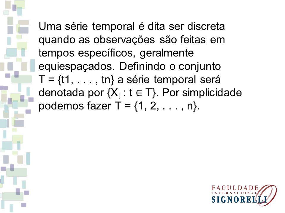 Uma série temporal é dita ser discreta quando as observações são feitas em tempos específicos, geralmente equiespaçados. Definindo o conjunto T = {t1,..