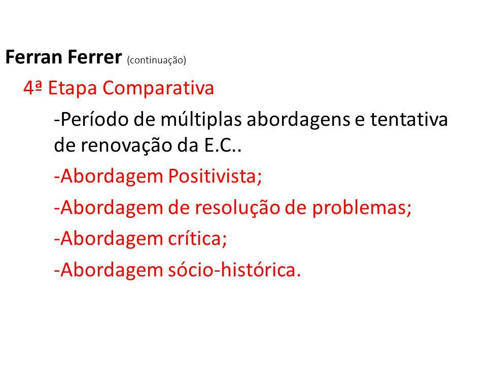 Ferran Ferrer (continuação) 4ª Etapa Comparativa -Período de múltiplas abordagens e tentativa de renovação da E.C.. -Abordagem Positivista; -Abordagem