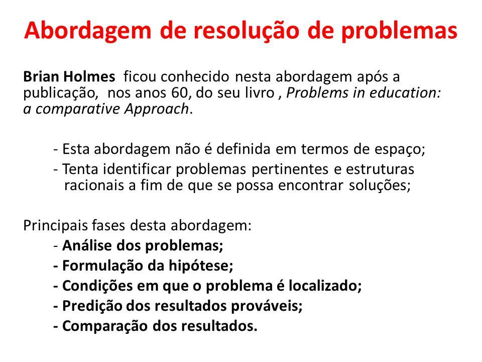 Abordagem de resolução de problemas Brian Holmes ficou conhecido nesta abordagem após a publicação, nos anos 60, do seu livro, Problems in education: