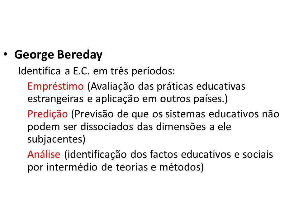 George Bereday Identifica a E.C. em três períodos: Empréstimo (Avaliação das práticas educativas estrangeiras e aplicação em outros países.) Predição