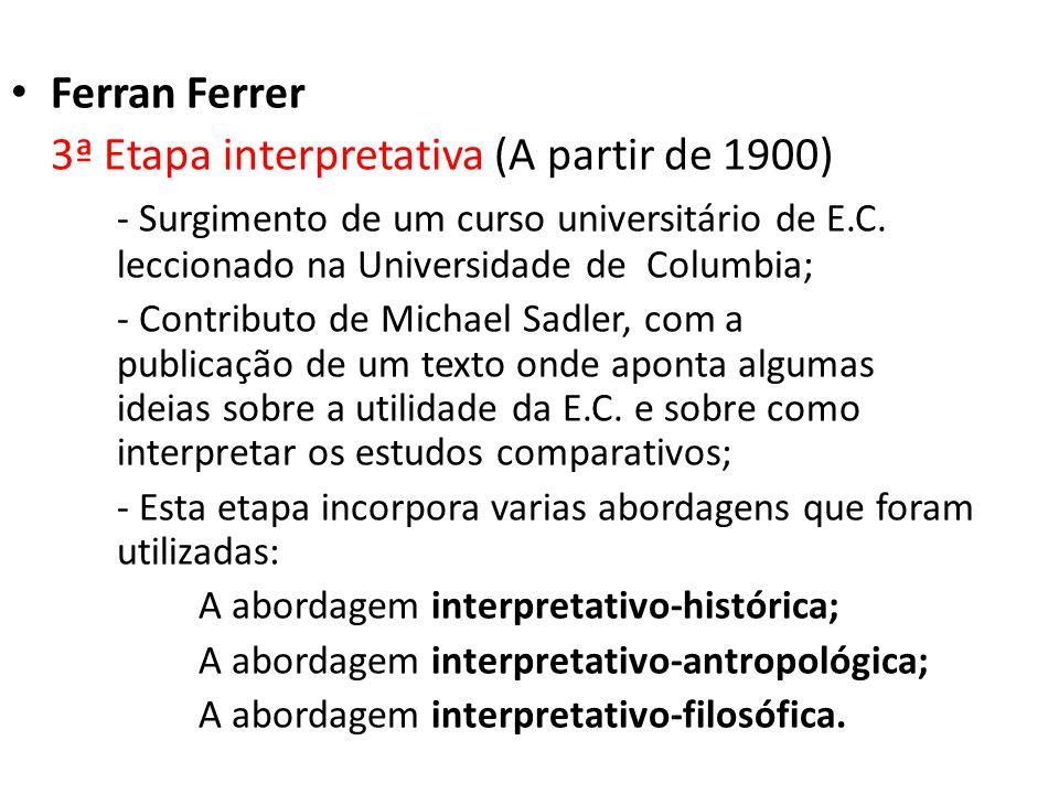 Ferran Ferrer 3ª Etapa interpretativa (A partir de 1900) - Surgimento de um curso universitário de E.C. leccionado na Universidade de Columbia; - Cont