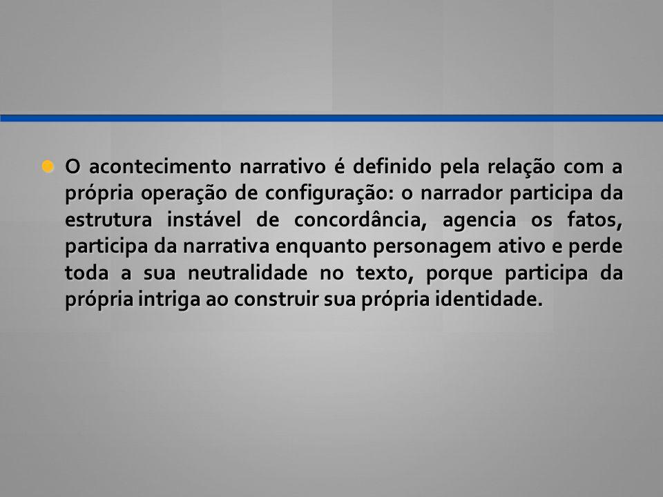 O acontecimento narrativo é definido pela relação com a própria operação de configuração: o narrador participa da estrutura instável de concordância,