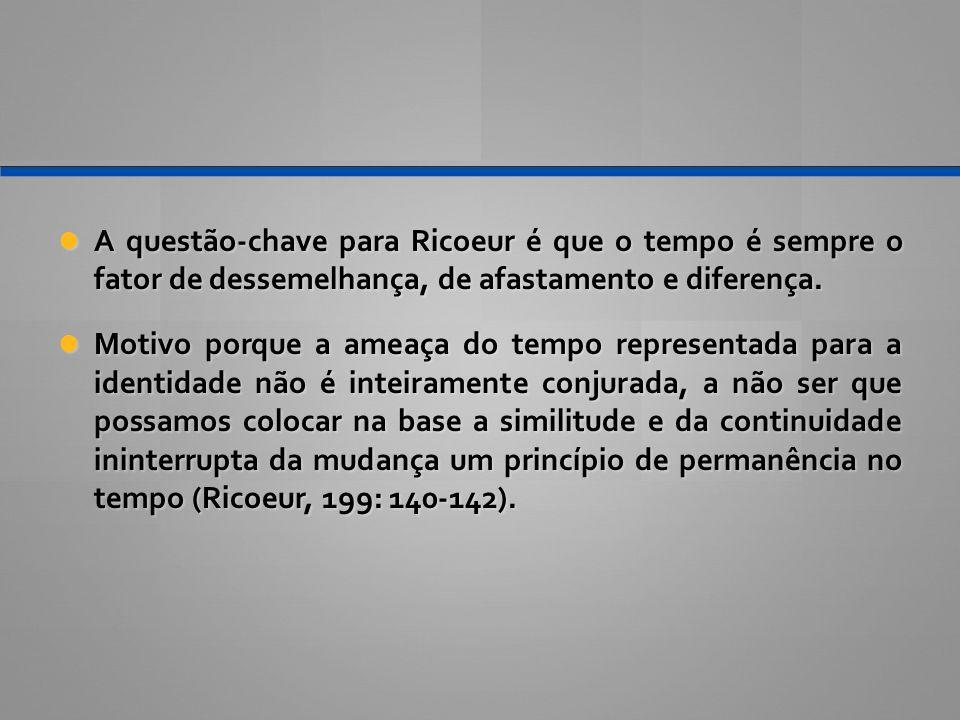 A questão-chave para Ricoeur é que o tempo é sempre o fator de dessemelhança, de afastamento e diferença. A questão-chave para Ricoeur é que o tempo é