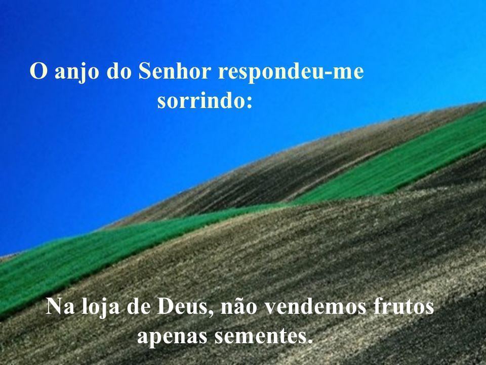 O anjo do Senhor respondeu-me sorrindo: Na loja de Deus, não vendemos frutos apenas sementes.