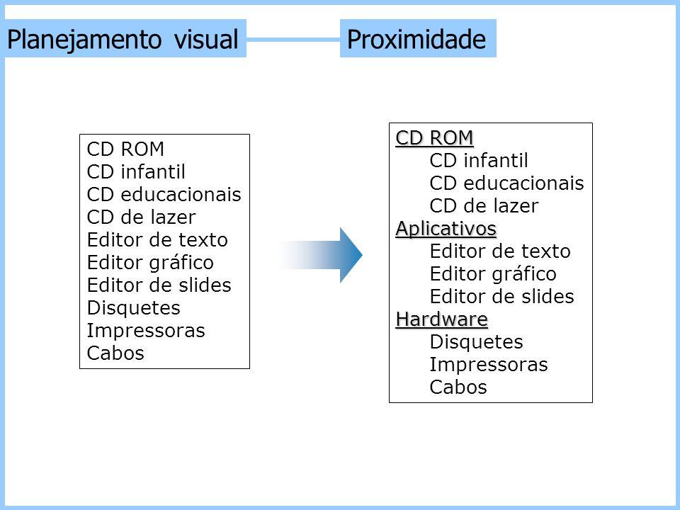 CD ROM CD infantil CD educacionais CD de lazer Editor de texto Editor gráfico Editor de slides Disquetes Impressoras Cabos CD ROM CD infantil CD educa