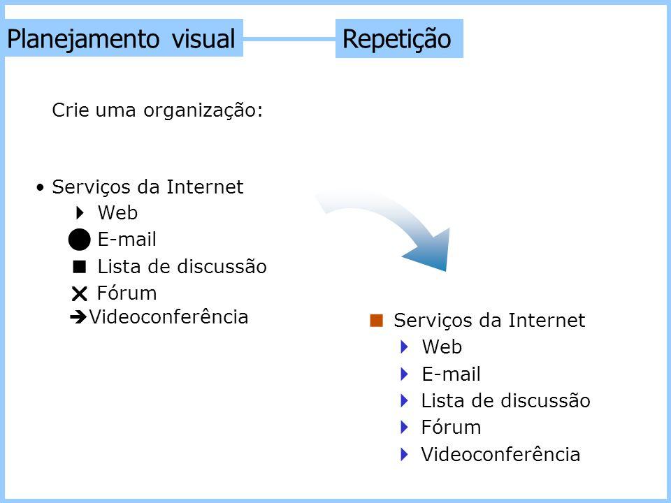 Repetição Planejamento visual Crie uma organização: Serviços da Internet  Web E-mail  Lista de discussão  Fórum  Videoconferência  Serviços da In