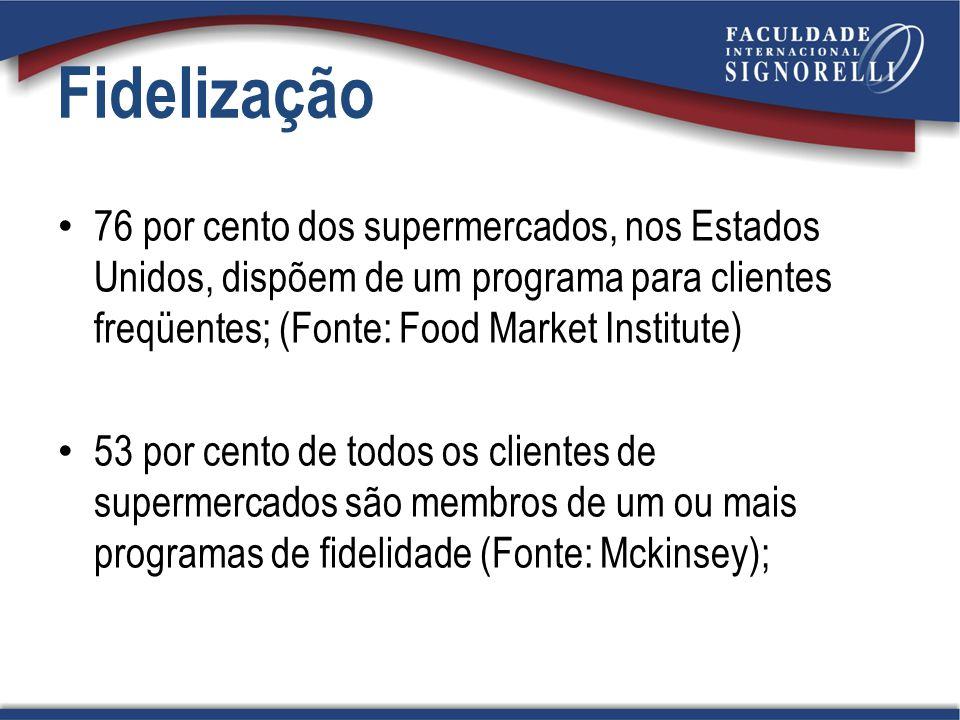 76 por cento dos supermercados, nos Estados Unidos, dispõem de um programa para clientes freqüentes; (Fonte: Food Market Institute) 53 por cento de to