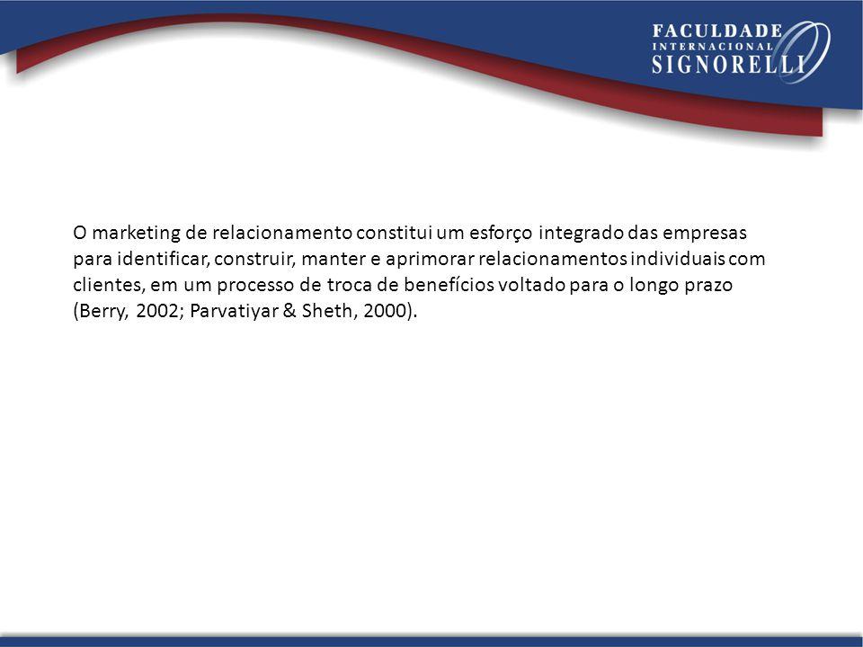 O marketing de relacionamento constitui um esforço integrado das empresas para identificar, construir, manter e aprimorar relacionamentos individuais