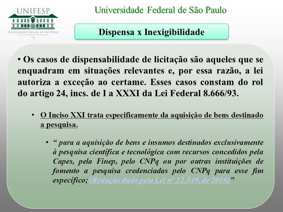 Universidade Federal de São Paulo Dispensa x Inexigibilidade Os casos de dispensabilidade de licitação são aqueles que se enquadram em situações relev