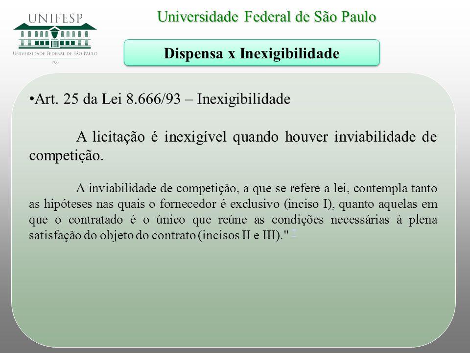 Universidade Federal de São Paulo Dispensa x Inexigibilidade Art. 25 da Lei 8.666/93 – Inexigibilidade A licitação é inexigível quando houver inviabil
