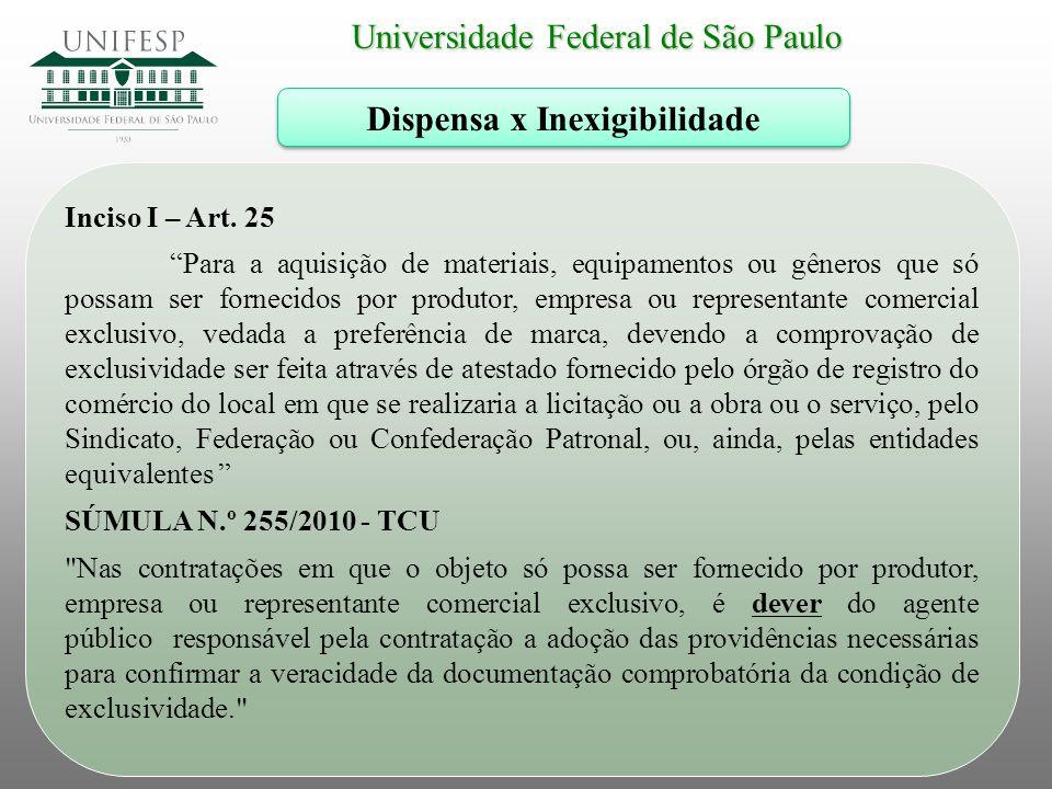 """Universidade Federal de São Paulo Dispensa x Inexigibilidade Inciso I – Art. 25 """"Para a aquisição de materiais, equipamentos ou gêneros que só possam"""