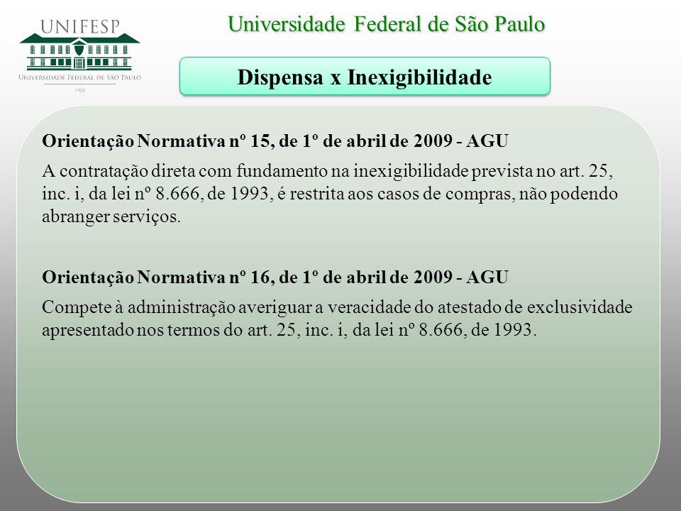 Universidade Federal de São Paulo Dispensa x Inexigibilidade Orientação Normativa nº 15, de 1º de abril de 2009 - AGU A contratação direta com fundame