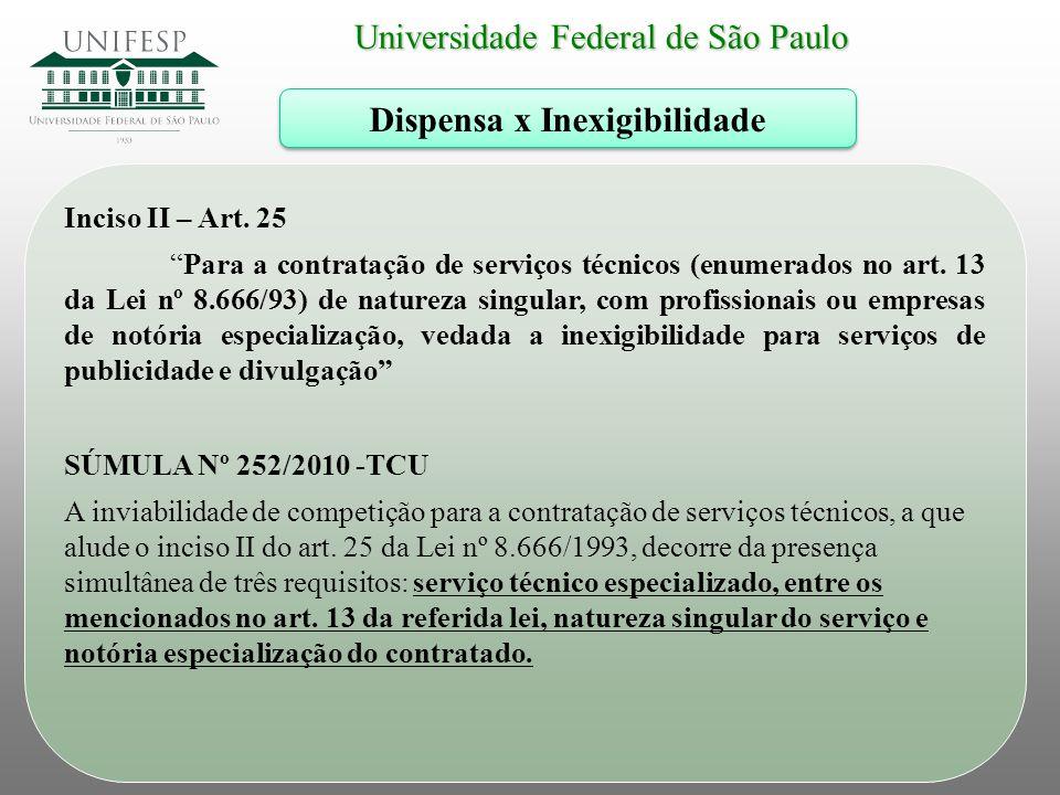 """Universidade Federal de São Paulo Dispensa x Inexigibilidade Inciso II – Art. 25 """"Para a contratação de serviços técnicos (enumerados no art. 13 da Le"""