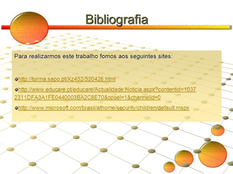 Bibliografia Para realizarmos este trabalho fomos aos seguintes sites: http://turma.sapo.pt/Xz452/520426.html http://www.educare.pt/educare/Actualidad