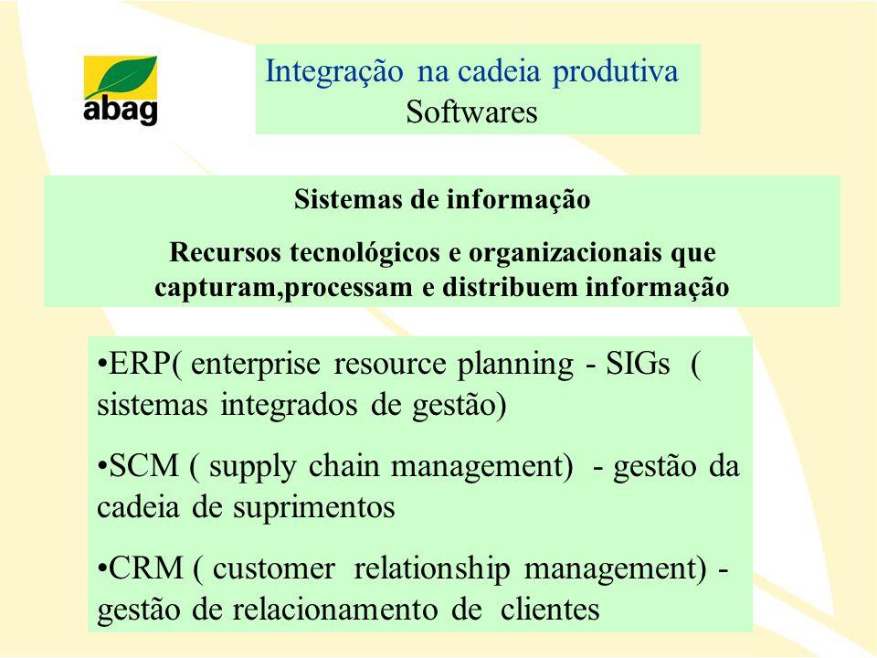 Integração na cadeia produtiva Softwares ERP( enterprise resource planning - SIGs ( sistemas integrados de gestão) SCM ( supply chain management) - ge