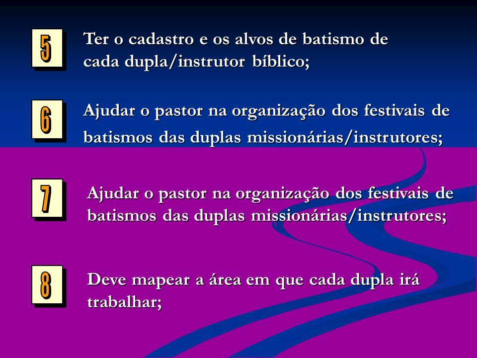 Ter o cadastro e os alvos de batismo de cada dupla/instrutor bíblico; Ajudar o pastor na organização dos festivais de batismos das duplas missionárias