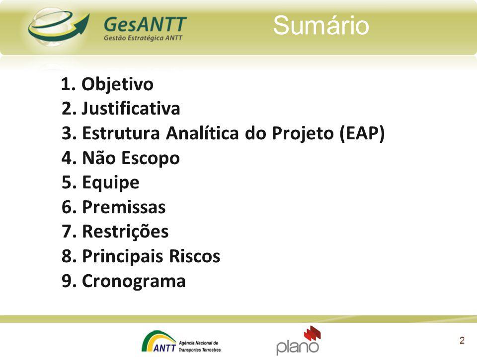 1. Objetivo 2. Justificativa 3. Estrutura Analítica do Projeto (EAP) 4. Não Escopo 5. Equipe 6. Premissas 7. Restrições 8. Principais Riscos 9. Cronog