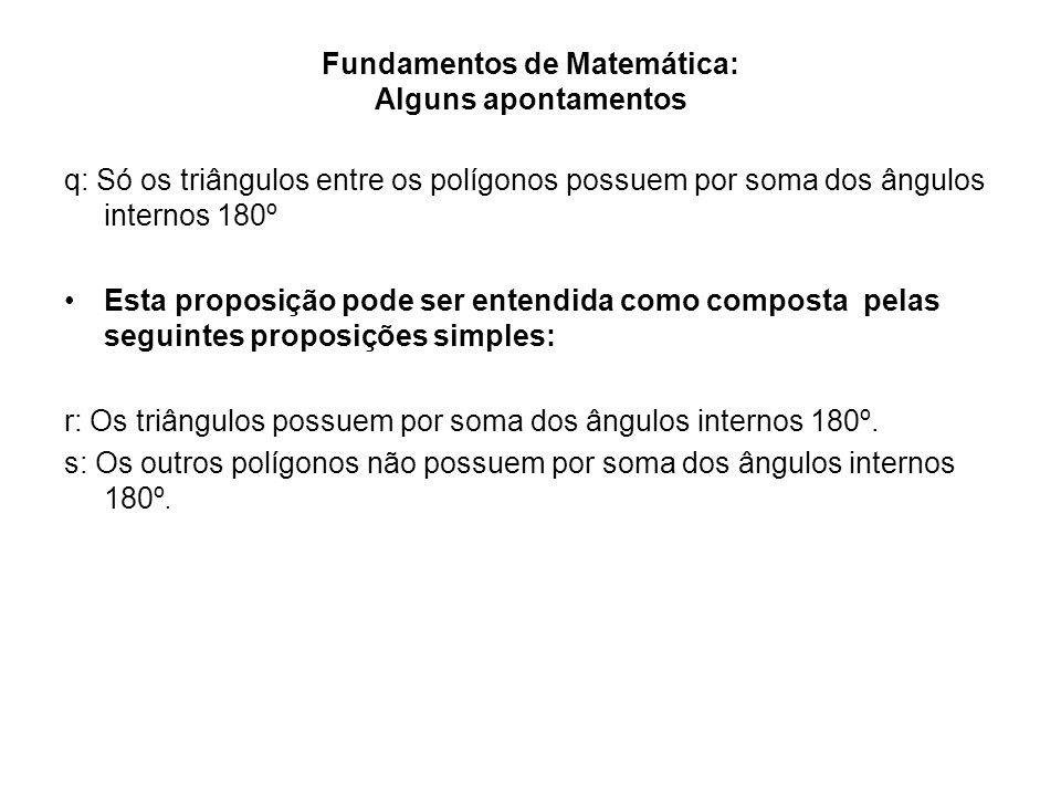 Fundamentos de Matemática: Alguns apontamentos q: Só os triângulos entre os polígonos possuem por soma dos ângulos internos 180º Esta proposição pode
