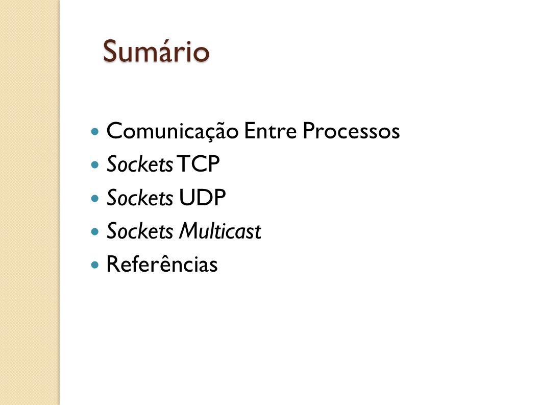 Sumário Comunicação Entre Processos Sockets TCP Sockets UDP Sockets Multicast Referências