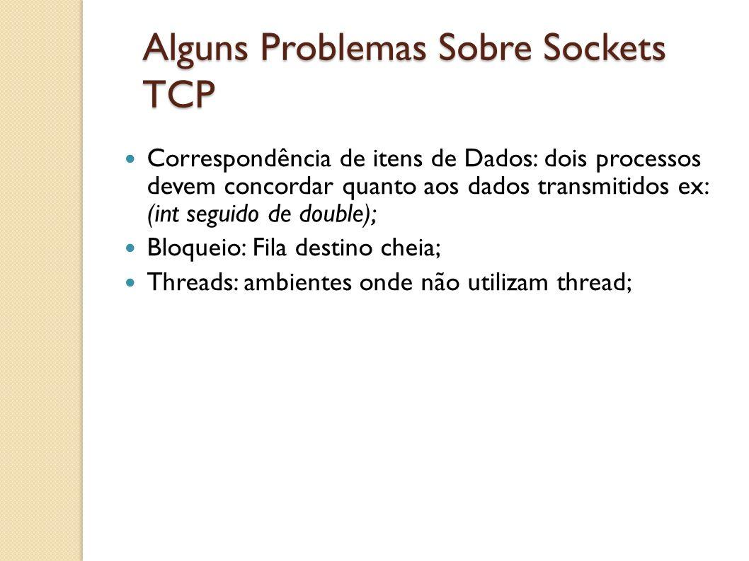 Alguns Problemas Sobre Sockets TCP Correspondência de itens de Dados: dois processos devem concordar quanto aos dados transmitidos ex: (int seguido de