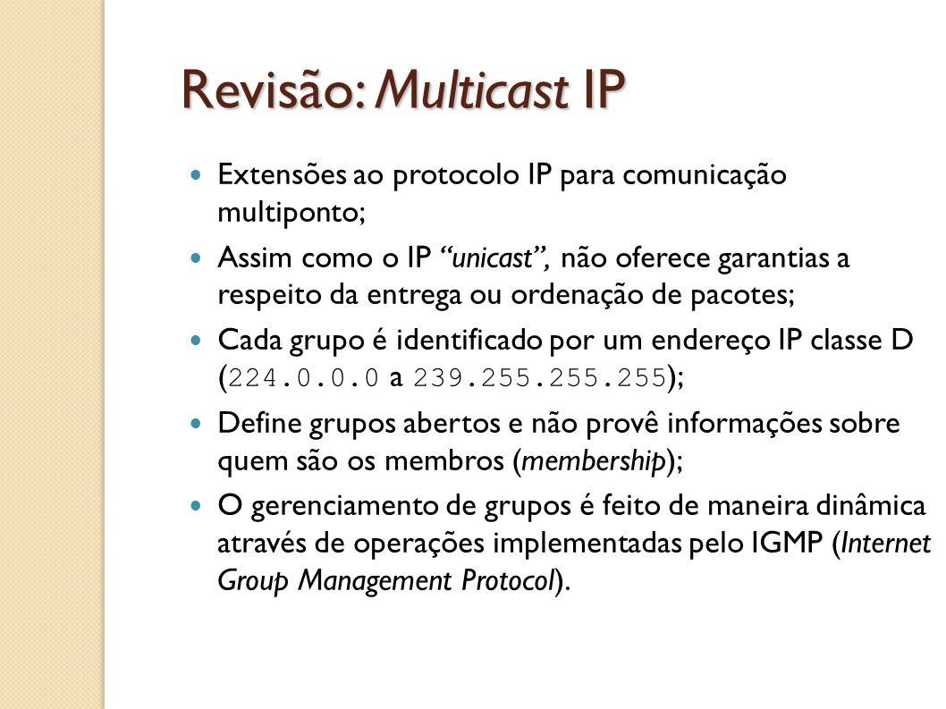 """Revisão: Multicast IP Extensões ao protocolo IP para comunicação multiponto; Assim como o IP """"unicast"""", não oferece garantias a respeito da entrega ou"""