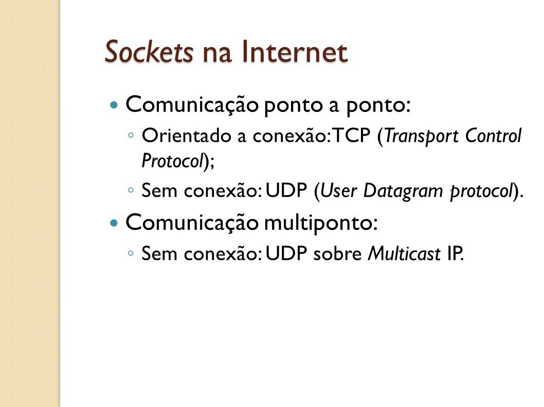 Sockets na Internet Comunicação ponto a ponto: ◦ Orientado a conexão: TCP (Transport Control Protocol); ◦ Sem conexão: UDP (User Datagram protocol). C