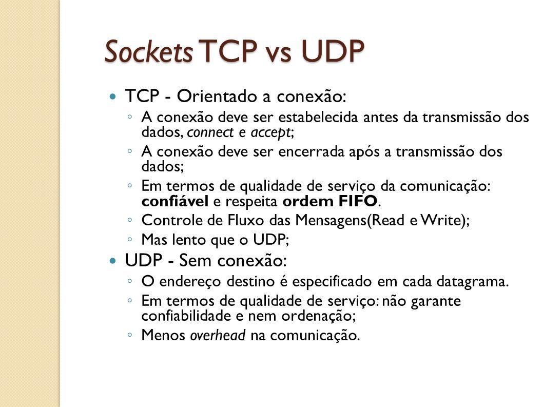 Sockets TCP vs UDP TCP - Orientado a conexão: ◦ A conexão deve ser estabelecida antes da transmissão dos dados, connect e accept; ◦ A conexão deve ser