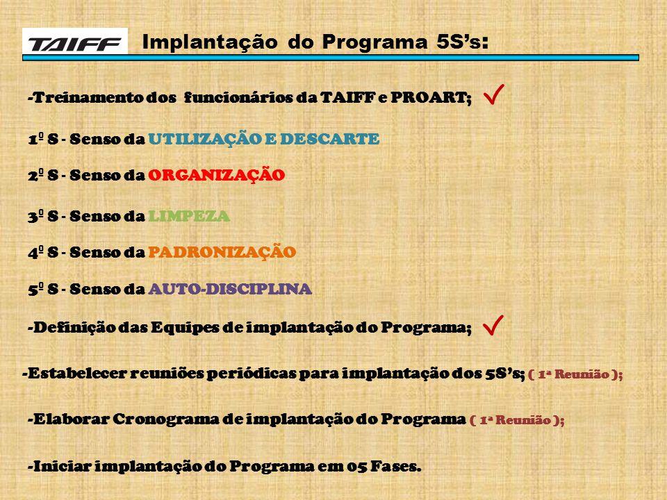 Implantação do Programa 5S's : -Treinamento dos funcionários da TAIFF e PROART; 1 º S - Senso da UTILIZAÇÃO E DESCARTE 2 º S - Senso da ORGANIZAÇÃO 3 º S - Senso da LIMPEZA 4 º S - Senso da PADRONIZAÇÃO 5 º S - Senso da AUTO-DISCIPLINA -Definição das Equipes de implantação do Programa; -Estabelecer reuniões periódicas para implantação dos 5S's; ( 1ª Reunião ); -Elaborar Cronograma de implantação do Programa ( 1ª Reunião ); -Iniciar implantação do Programa em 05 Fases.