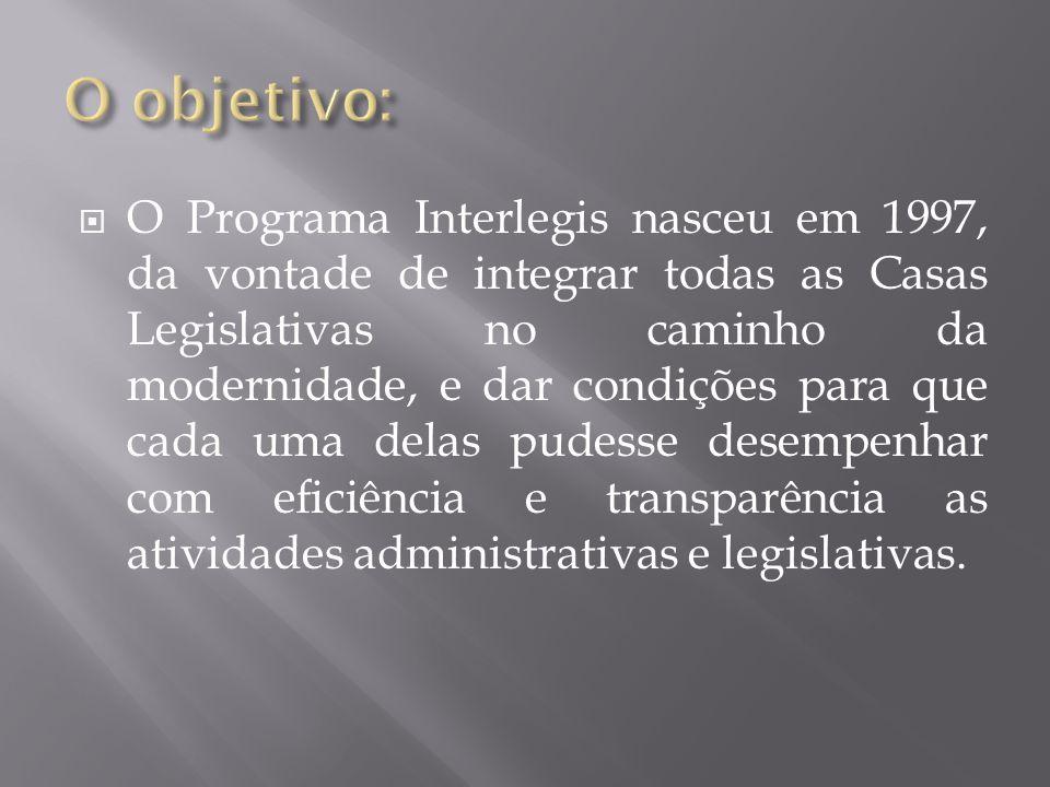  O Programa Interlegis nasceu em 1997, da vontade de integrar todas as Casas Legislativas no caminho da modernidade, e dar condições para que cada um