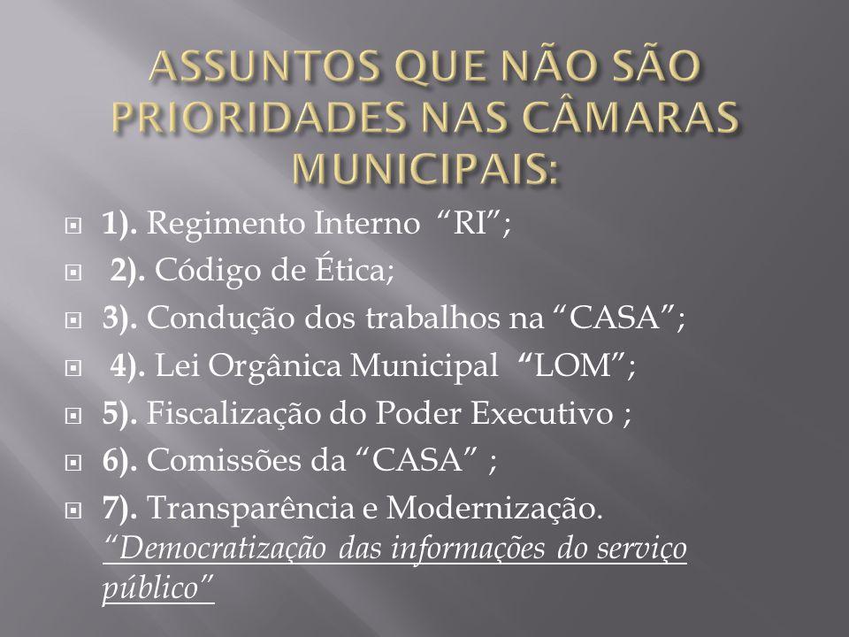 """ 1). Regimento Interno """"RI"""";  2). Código de Ética;  3). Condução dos trabalhos na """"CASA"""";  4). Lei Orgânica Municipal """" LOM"""";  5). Fiscalização d"""