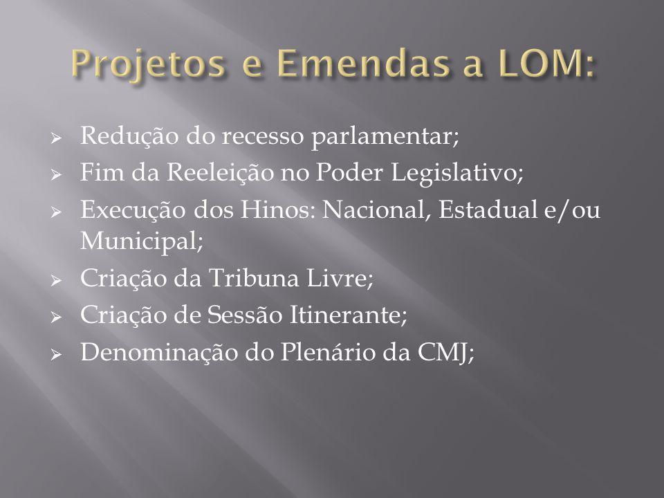  Redução do recesso parlamentar;  Fim da Reeleição no Poder Legislativo;  Execução dos Hinos: Nacional, Estadual e/ou Municipal;  Criação da Tribu
