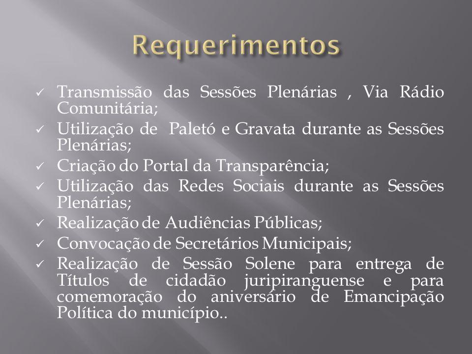 Transmissão das Sessões Plenárias, Via Rádio Comunitária; Utilização de Paletó e Gravata durante as Sessões Plenárias; Criação do Portal da Transparên