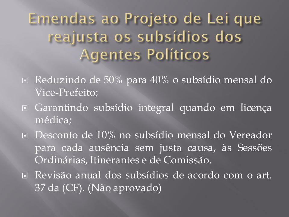  Reduzindo de 50% para 40% o subsídio mensal do Vice-Prefeito;  Garantindo subsídio integral quando em licença médica;  Desconto de 10% no subsídio