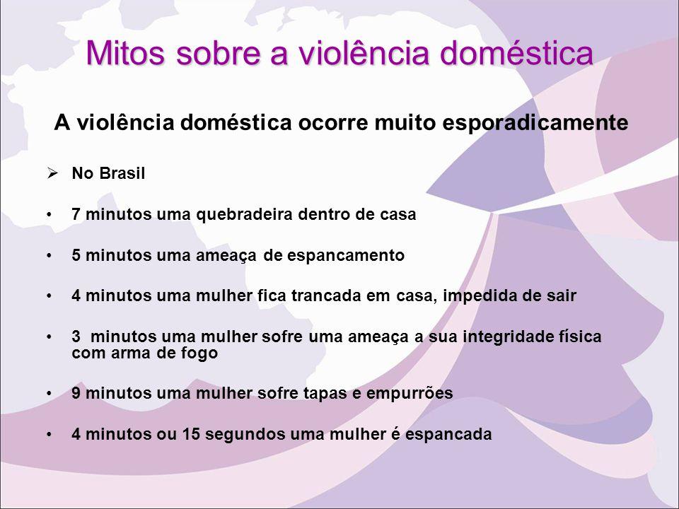 Mitos sobre a violência doméstica A violência doméstica ocorre muito esporadicamente  No Brasil 7 minutos uma quebradeira dentro de casa 5 minutos um