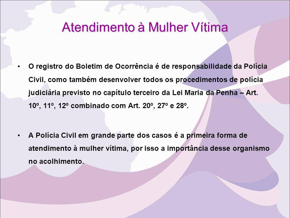 Atendimento à Mulher Vítima O registro do Boletim de Ocorrência é de responsabilidade da Polícia Civil, como também desenvolver todos os procedimentos