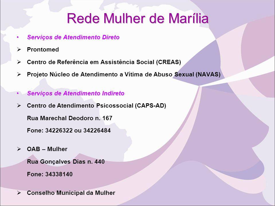 Rede Mulher de Marília Serviços de Atendimento DiretoServiços de Atendimento Direto  Prontomed  Centro de Referência em Assistência Social (CREAS) 