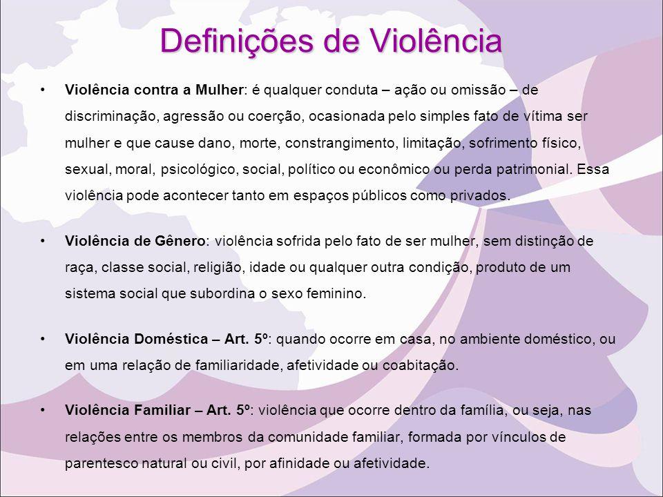 Definições de Violência Violência contra a Mulher: é qualquer conduta – ação ou omissão – de discriminação, agressão ou coerção, ocasionada pelo simpl