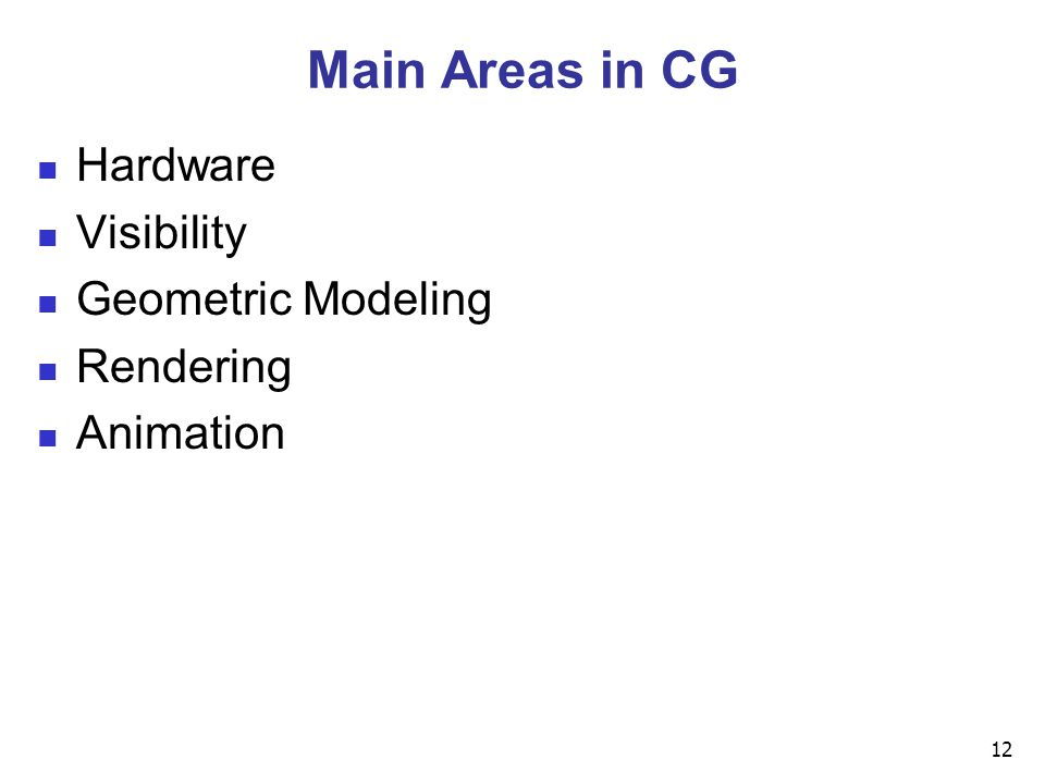 12 Main Areas in CG Hardware Visibility Geometric Modeling Rendering Animation