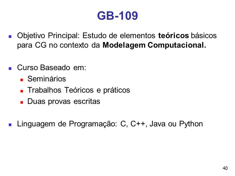 40 GB-109 Objetivo Principal: Estudo de elementos teóricos básicos para CG no contexto da Modelagem Computacional. Curso Baseado em: Seminários Trabal