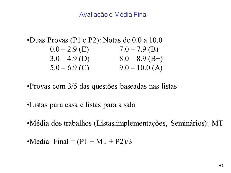41 Avaliação e Média Final Duas Provas (P1 e P2): Notas de 0.0 a 10.0 0.0 – 2.9 (E)7.0 – 7.9 (B) 3.0 – 4.9 (D)8.0 – 8.9 (B+) 5.0 – 6.9 (C)9.0 – 10.0 (