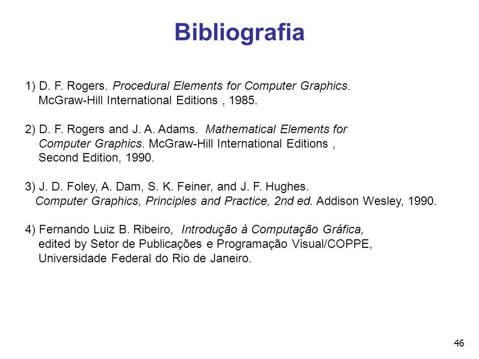 46 Bibliografia 1) D. F. Rogers. Procedural Elements for Computer Graphics. McGraw-Hill International Editions, 1985. 2) D. F. Rogers and J. A. Adams.